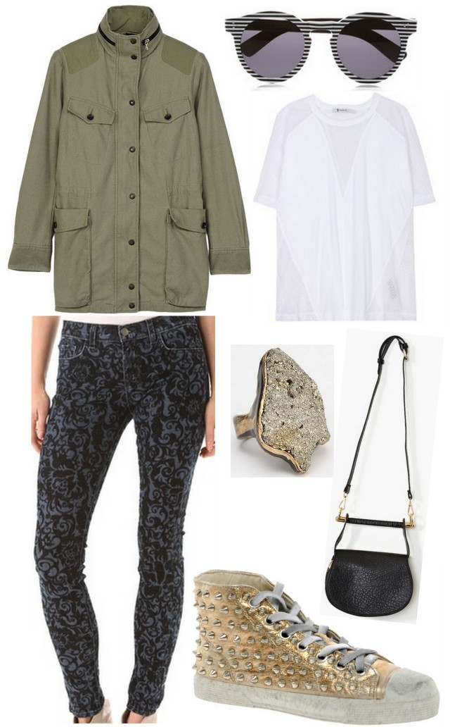 gold, army green & print pants