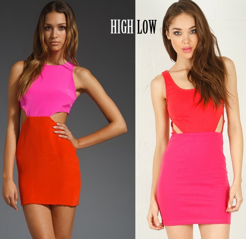pink red cut out dresses