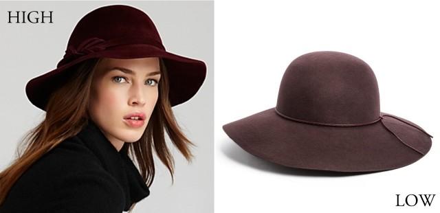 Burgundy wide brim hats