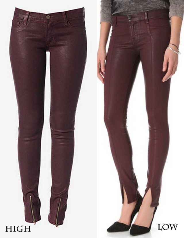 OXBLOOD COATED DENIM FRONT SLIT SKINNY JEANS HIGH LOW ALL THINGS MAJOR