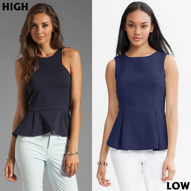 navy sleeveless peplum tops
