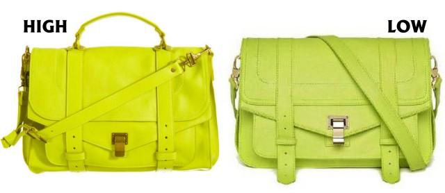 neon yellow satchels
