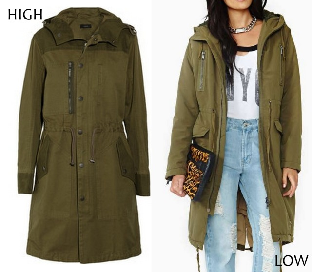 high low army parka