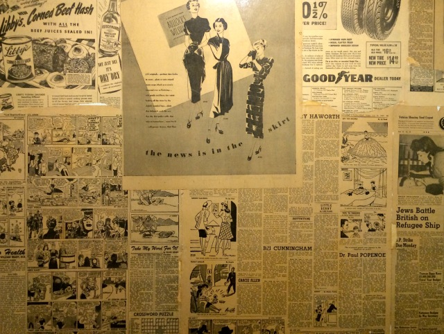 vintage magazine ads on bathroom wall larchmont bungalow ALL THINGS MAJOR blog