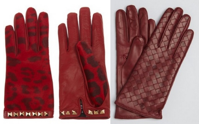 red cashmere lined leather gloves