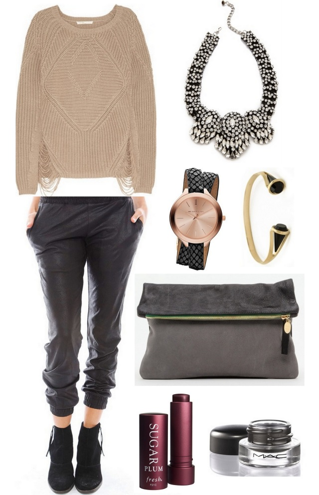 outfit of the day #ootd ALL THINGS MAJOR BLOG chunky knit leather track pants